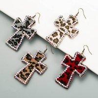 Dangle & Chandelier AB Crystal Accented Leather Leopard Jesus Cross Drop Earrings For Women Fashion Cheetah Print Vintage Jewelry