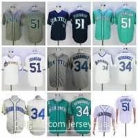 Retror Baseball Vintage 51 Randy Johnson Jersey 34 Felix Hernandez Rentiere Navy Blue Green White Grau Pullover Cooperstown Flexbase