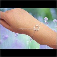 Charme bijoux goutte livraison 2021 10pcs gold sier simple dainting ouvert contour éternité karma cercle bracelets ronds kowfw