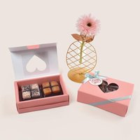 Corrugated Carton Box Package Candy Gift Boxes Rectangle With Love Shape Clear PVC Window Cake Dragees Dessert Wedding Favors Wrap