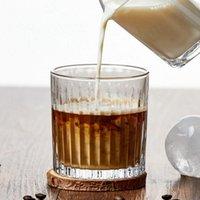 Copo de vinho copo de vidro resistente a calor reto listrado gelado latte americano água japonês vertical