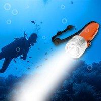 شمعات الصمام الغوص المحمولة فانوس T6 للماء تحت الماء الغوص الشعلة معصمه مصباح داخلي إضاءة الإضاءة في الهواء الطلق مشاعل الشعلة