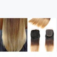 # 1B 4 27 Bal Sarışın Ombre Brezilyalı Saç 3 Paketler Dantel Kapatma Ile Koyu Kökler Üç Ton İpeksi Düz Ombre Saç Kapatma ile Örgüler
