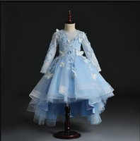 Girl's Dresses Flower Lace Butterfly Baby Dress Blue Tulle Infant Girl Christening Gowns Born Baptism First Birthday Tutu