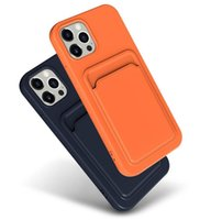 Card Holder Silicone Case for iPhone 12 Pro Max 11 XR X XS 7 8 Plus Shockproof TPU Credit Slot Protective Cover