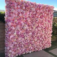 3D Artificial FlowerWall Panels Pink Peony Ivory Hot Red Pink Rose Green plants Wedding Backdrop Runners Home Decor