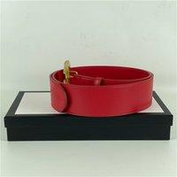 Ceinture de designer pour hommes Cuir rouge en cuir rouge gros or avec boucle de perle classique coton coton classement blanc boîte