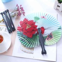 Vintage Flower Printing Paper Wedding Decoration Party Favors Chinese Hand Folding Fancy Women Girls Dancing Fan P2W9 O1HS