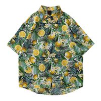 T-shirts Hommes Coton Coton Chemise pour hommes, Hawaiian Short manches ouvertes en tricot, revers de fruits, haut de la mode, Comer, été 2021