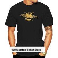 Men's T-Shirts Tee Shirt Mens Golden Bee Screen Print Olive Green Or Black Organic Cotton Men T