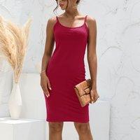 Cotton Women Skinny Mini Pencil Dress Backless Bodycon Sexy Party Elegant 2021 Causal Club Slim Sleeveless Solid Sling dress New