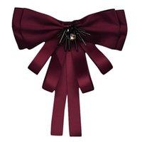 Mujer cinta cuello arco corbata con broche Pin Faux Crystal Jabot Cuello Joyería Regalo D0LF Lazos