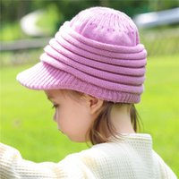Caps & Hats Winter Born Baby Girls Boys Sun Cotton Knitted Hat Solid Striped Woolen Snapback Baseball Cap Kids Bucket