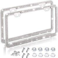 2x Bling Car-Kennzeichenrahmen für Frauen funkelnd Diamantabdeckung, Glitter Rhinestone Edelstahlrahmen Interiorexternale Lichter