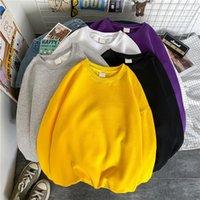 Men's Hoodies & Sweatshirts Autumn Winter Fleece Sweater Solid Color Simple Men Korean Style Trendy Couple Long-Sleeved Brand Loose Top Coat