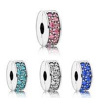 Adatto a Pandora Biagi Bracciali 20pcs rosa bianco blu argento sicurezza anti-drop-clip fibbia fascino perline tappo perline per ingrosso fai da te gioielli in sterlina europea gioielli