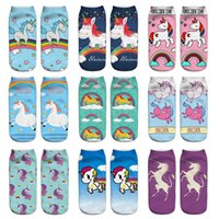 Women's Girl's Ankle Unicorn Socks Colorful 3D Food Print No Show Low Cut Funny Novelty Sock