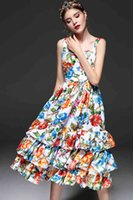 고품질 새로운 2019 패션 디자이너 활주로 여름 드레스 여성 스파게티 스트랩 계층화 된 프릴 캐주얼 플로랄 프린트 파티 드레스