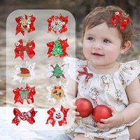 children Christmas tree bow hairpin European American baby girls Santa Claus bowknot Barrettes Snowman penguin kids Hair Accessories D169