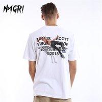 Nagri Men T-Shirt Fan Lettera Stampa Travis Scotts Astroworld Pocket Graphic Graphic Magliette Lettera Stampa Streetwear Hip Hop TEE 210402