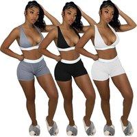 Femmes Tracksuits Set Set Vêtements d'été Yoga V-Col V-Col Sans manches Top Gym Jogger Vest Shorts Sports Sports Sports Teetop Capris Fitness Pullging Leggings Tenue 01304