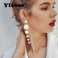 Yishan Fashion Charm Big Simulated Pearl Drop Earrings For Women Statement Trendy Long Girls Party Gift YS0002 Dangle & Chandelier