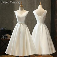 Other Wedding Dresses O1089 Sweet Memory Princess White Satin Bride Sexy V Neck A-line Party Dress Girl Lace Up Robe De Mariee
