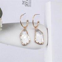 Dangle & Chandelier Simple Fashion Transparent Irregular Crystal Pendant Drop Earring For Women Girls 2021 Design Statement Jewelry