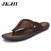 Jichi Cuero Flip Flops Men Zapatillas Sandalias Verano Alto Masculino Zapatos Casual Tamaño Outdoor Chinelo Masculino 210622