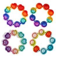 4 Colors Fidget Reliver Stress Toys Rainbow Bracelet Push Bubble Antistress Adult Children Sensory Toy To Relieve Autism