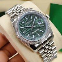 緑のヤシの葉のダイヤルレディースウォッチ照明サファイア表面腕時計ダイヤモンド2813運動女性デザイナーOronologio di Lusso