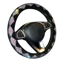 38cm Diamond Steering Wheel Cover For Women Rhinestone, Colorful Crystal Velvet Covers