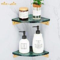 Green Stone Antique Brass Corner Shelf Bathroom Rack Holder Washroom Luxury Toilet Wall Storage Shelves