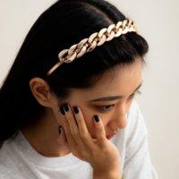 Bandeau de bande de forme de la chaîne cubaine CCB Simples bandes de cheveux en or Simples fermez la fermoir pour les femmes filles bijoux de la mode et sableux