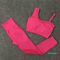 Diseñador Mujeres Yoga Set Ruffles Sport Suit Sexy Sportswear Entrenamiento Gimnasio Ropa Sujetador Top Leggings Fitness Para Mujer Chándal