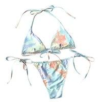 Women's Swimwear String Bikinis Micro Thong Swimsuit 2021 2 Piece Sexy Print Set Bikini Bandage Beachwear Z3R6