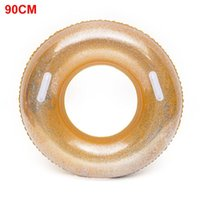 Life Vest & Buoy Water Party Pool Accessory Wear Resistant Sequins Safe Leak Proof Inflatable With Handle PVC Swimming Ring Adults Lifebuoy