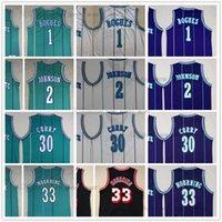 Mitchell و Ness 1992-93 كرة السلة Tyrone 1 Muggsy Jerseys مخيط Larry 2 Johnson 30 Dell 33 ألونزو كاري 96-97 الحداد الرجعية الأسود الأبيض الأخضر الأرجواني جيرسي