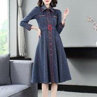 فساتين عالية الجودة الدنيم الخريف الشتاء أزياء جينز المرأة الدائري المعادن ديكو طويلة الأكمام عارضة القطن الأخضر الأزرق