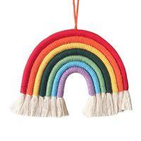 Parete arcobaleno appeso per camera da letto Nursery Baby Bambini Camere Playroom Colorful Piccolo Tapestry Corda Tessuto Tessuto Nappa Handmade Artigianato Regalo Art Home Decor