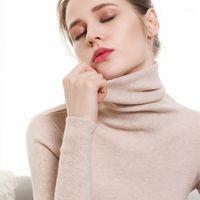 الخريف والشتاء جديد الكشمير سترة النساء ذوي الياقات العالية البلوز أزياء سترة دافئة أسفل 1