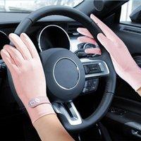 Five Fingers Gloves Women Full Summer Stretch Thin Driving Anti-Slip Sunscreen Anti-UV Ultra-thin Breathable Glove Mittens