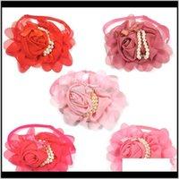 Bekleidungsbedarf Home Garden50Pcs Große Valentines Bogenliebe Tag Krawatten Chiffon Rose mit Perlenketten Bowties Hunde Assesorien Pet Products D