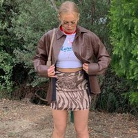 Etekler Atoshare Peri Grunge Yaz Y2K Estetik 70's Retro Yüksek Bel Mesh Kadın Baskı Mini Kahverengi Etek