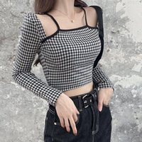 Women's T-Shirt Plaid Square Collar Hollow Out Sexy Top 2021 Spring Slim Navel Exposed Long Sleeved Tops
