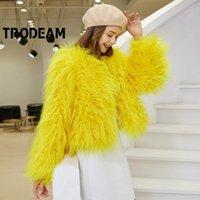 Damesbont Faux Tromeam Trendy Solid Tibet Wol Jassen Ronde hals Lange Mouwen High Street Short for Women Winter Coat 2021 Mode