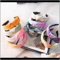 Cravate Dye Spring à la main Large Hoops Knot Bandes de cheveux Bandes élastiques Bandes de cheveux Bandeaux Femmes Bandeaux 5Q136 PDHAY