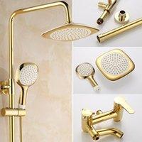 Banyo Duş Setleri Avrupa Lüks Altın Musluk Seti Ev Duvara Monte Yağış Sistemi Bakır Küvet Mikser Dokunun CN (Origin)