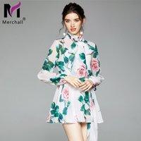 Günlük Elbiseler Merchall Sonbahar Pist Çiçek Mini Kadınlar Fener Kollu Papyon Yaka Çiçek Baskı Kemer Şifon Tatil Plajı