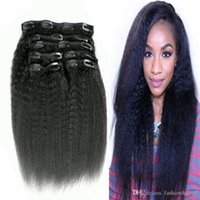 Kinky Straight Clip In Indian Human Hair Extensions 8pcs set 100g Natural Color Remy Clip Ins